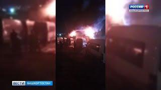 Пожар в автосервисе: в Уфе сгорели Lexus и два микроавтобуса