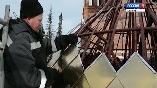 В Барнауле на храм подняли золотые купола, изготовленные по ракетно-космической технологии