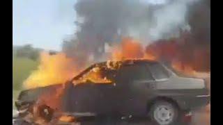 На Ставрополье горящий автомобиль попал на видео