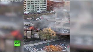 В Нью-Йорке после ДТП на Бруклинском мосту загорелись три автомобиля