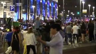 Российские фанаты празднуют победу