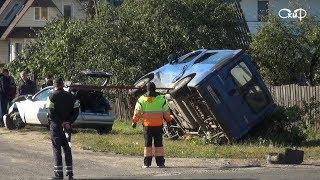 ДТП в Борисове. Перевернулся микроавтобус.