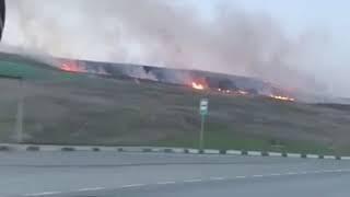 В окрестностях Ставрополя загорелись поля