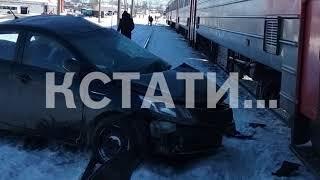 Автомобиль выехал на переезд и был сбит поездом