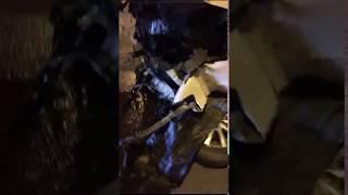 Автомобиль сильно пострадал в ночном ДТП в Южно-Сахалинске
