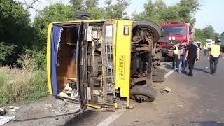 На Полтавском шоссе фура столкнулась с автобусом: есть пострадавшие