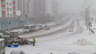 На трассах Башкирии из-за снегопада наблюдается сложная ситуация