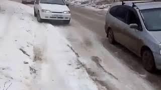 Гололед на дорогах в селе Юца