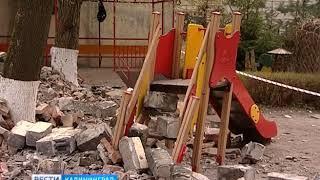В детском саду Калининграда обрушилась кирпичная стена