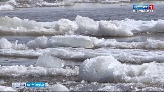 Минувшей ночью началось движение льда в нижнем течении Пинеги