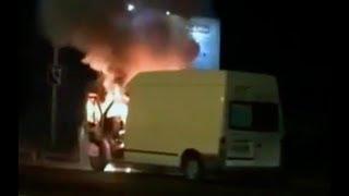 В Пятигорске взорвался и загорелся микроавтобус