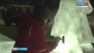 Работа над скульптурами из льда и снега началась на набережной Онежского озера