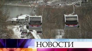 В Москве на Воробьевых горах заработала первая в истории города канатная дорога.