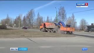 Уборку Петрозаводска от зимнего мусора и песка осложняют погодные условия