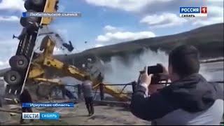 В Иркутской области при спуске катера на воду опрокинулся автокран