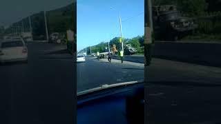 В Петропавловске неуправляемый грузовик врезался в столб
