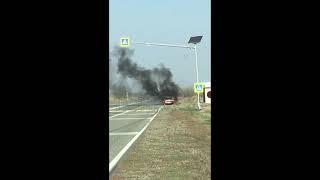 В селе Донском на дороге загорелась легковушка