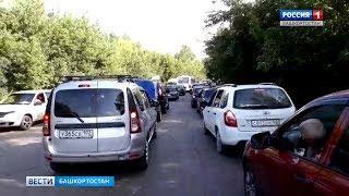 Из-за ограничения движения на мосту в Стерлитамаке образовалась большая пробка