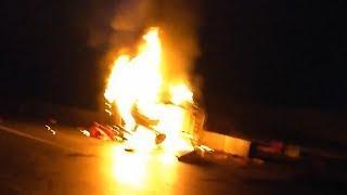 KIA сгорела вместе с водителем