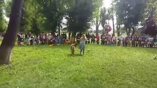 Нина Николаева и леонбергер Царина танцуют вальс