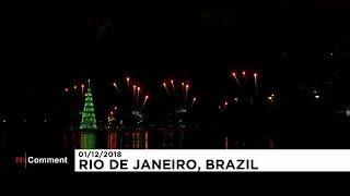 Плавучая рождественская ёлка в Рио