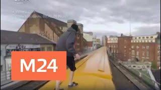 В Сети обсудили, как немецкие зацеперы катаются на крышах поездов и прыгают с мостов - Москва 24