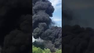 Пожар на Западном въезде в Ростов 26.05.18. Горит камыш