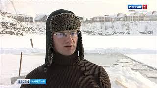 """Заготовки из льда для скульптур """"Гипербореи"""" привезли на Онежскую набережную"""