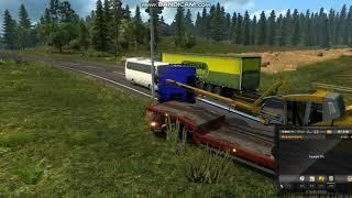 Играем в Euro Truck Simulator 2!ДТП на обгоне,неудачный обгон