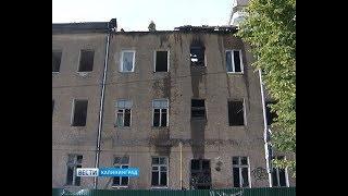 В Калининграде загорелось заброшенное здание