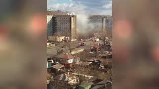 В Красноярске горит общежитие