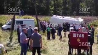Опубликованы первые кадры с места аварии поезда и автобуса под Орлом