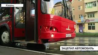 На улице Космонавтов водитель автобуса зацепил автомобиль Datsun - ТНВ