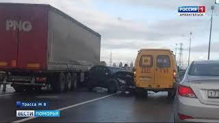 Сегодня на трассе М-8 в Приморском районе произошло сразу две аварии