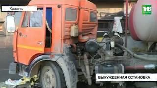 Груженый содержимым выгребных ям Камаз снёс автобус | ТНВ