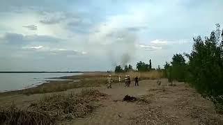возгорание камыша в районе пляжа