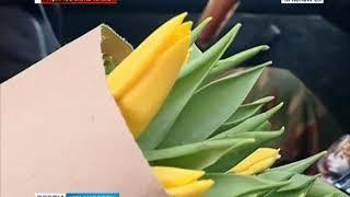 Прямое включение: в Красноярске началась массовая продажа тюльпанов