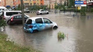 В Омске устраняют последствия сильнейшего ливня с градом