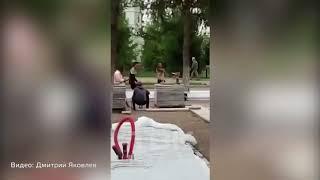 Рабочие устроили спартакиаду у Дворца труда в Красноярске