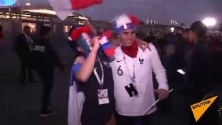 Как французские болельщики в Санкт-Петербурге праздновали победу над сборной Бельгии