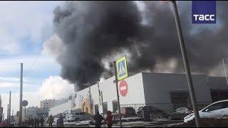 Пожар в автоцентре в Санкт-Петербурге
