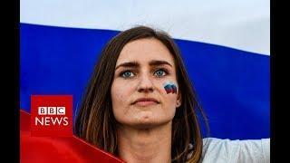 Russian football fans celebrate - BBC News