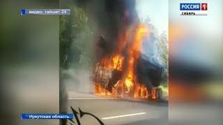 Лесовоз загорелся на ходу в Иркутской области