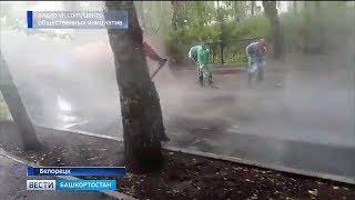 В Белорецке дорожные рабочие в проливной дождь укладывали новый асфальт