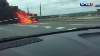 На трассе возле Уфы сгорела газель