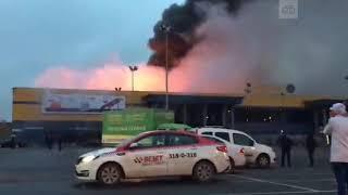Гипермаркет «Лента» горит вСанкт Петербурге