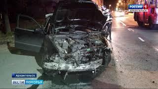Накануне поздно вечером в центре Архангельска водитель БМВ снес металлическое ограждение