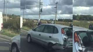 На большой Окружной из-за отказа тормозов у мусоровоза в ДТП попали четыре автомобиля
