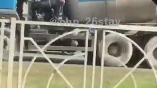 На Кулакова в Ставрополе образовалась пробка из за ДТП с бетономешалкой