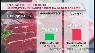Сравнение цен на основные продукты в разных городах Югры